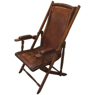 English 19th Century Leather and Mahogany Campaign Chair For Sale