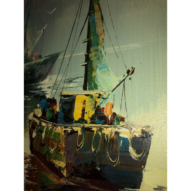 Peaceful Mid Century Painting of Sailboats For Sale In Dallas - Image 6 of 9