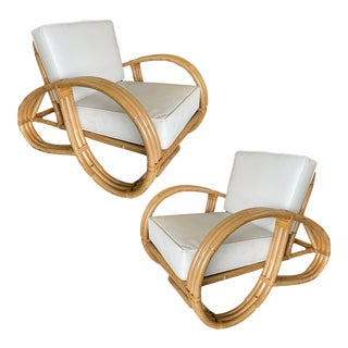 Restored 3/4th Round Pretzel Three-Strand Rattan Lounge Chairs - a Pair For Sale