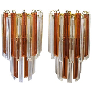 1970's Vintage Venini Style Triedi Sienna & Clear Glass Wall Sconces- A Pair For Sale