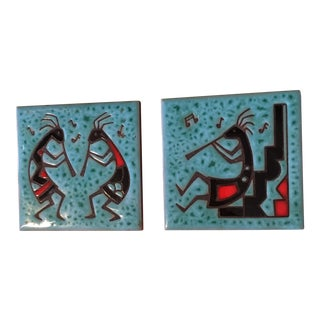 1980s Southwest Kokopelli Cleo Teissedre Coasters - a Pair For Sale