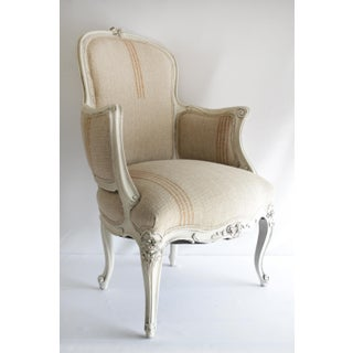 Antique Louis XV Style Painted French Bergere Chair With Linen Upholstery Preview