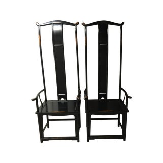 Black Ming Style Yoke Back Chairs - A Pair For Sale