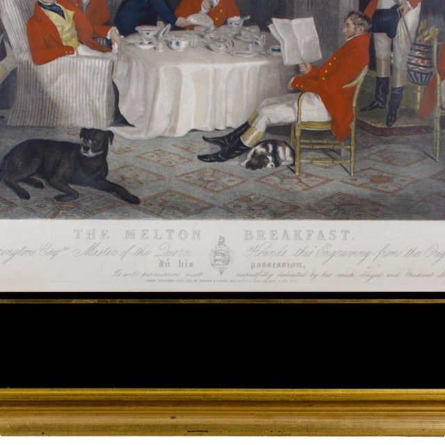 "1839 ""The Melton Breakfast"" Fox Hunt Engraving Print For Sale - Image 4 of 6"