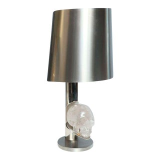 French Modernist Skull in Rock Crystal and Stainless Steel Lamp