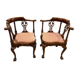 Pair of Mahogany Chippendale Ball and Claw Feet Corner Chairs For Sale