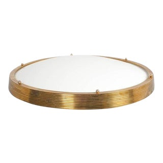 Large Lucite Brass Cinema Ceiling Flush Mount Lamp, France, 1950 For Sale