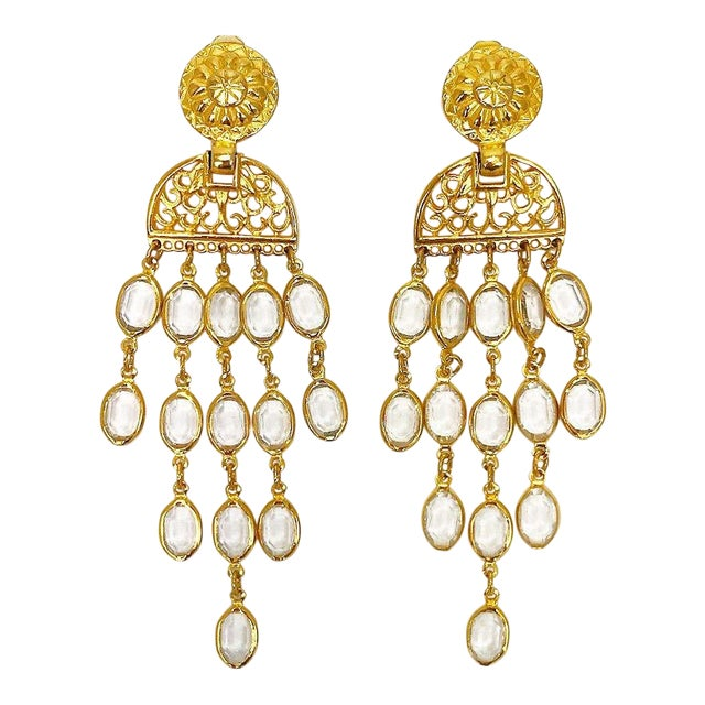 Balmain Gold & Crystal Shoulder Duster Earrings For Sale