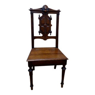 Antique Hand Carved Walnut Music Chair With Seat Compartment