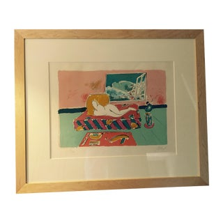 """Framed Peter Max Lithograph """"By the Window"""""""