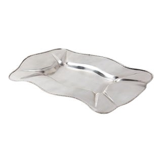 Axton Scalloped Silver Metal Tray For Sale