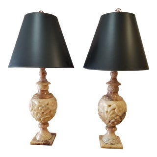 1980s Alabaster Lamps - a Pair For Sale