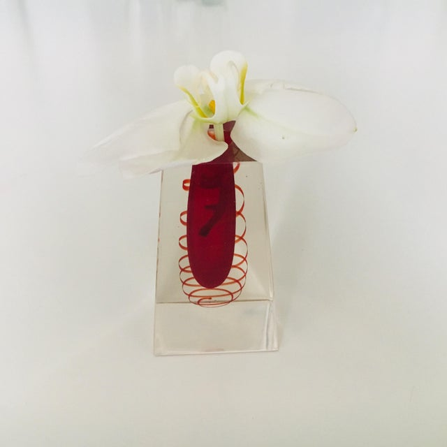Mid-Century Modern 1960's Murano Sommerso Red and Clear Faceted Art Glass Vase, Italy For Sale - Image 3 of 6