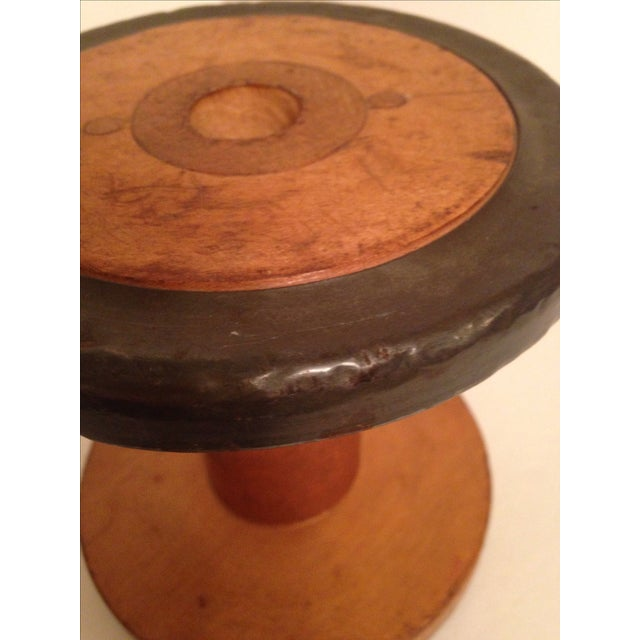 Vintage Vermont 1940 Industrial Wooden Spool - Image 5 of 6