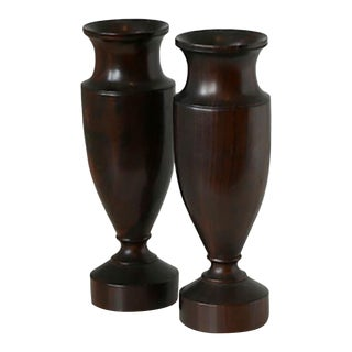 Antique Turned Wood Urns - Pair For Sale