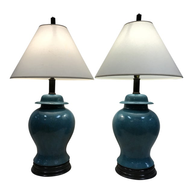 Vintage Turquoise Ceramic Crackle Lamps- a Pair For Sale