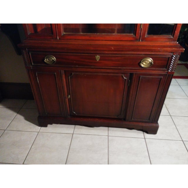 19th Century Bernhardt Mahogany Glass Front China Cabinet For Sale - Image 5 of 11