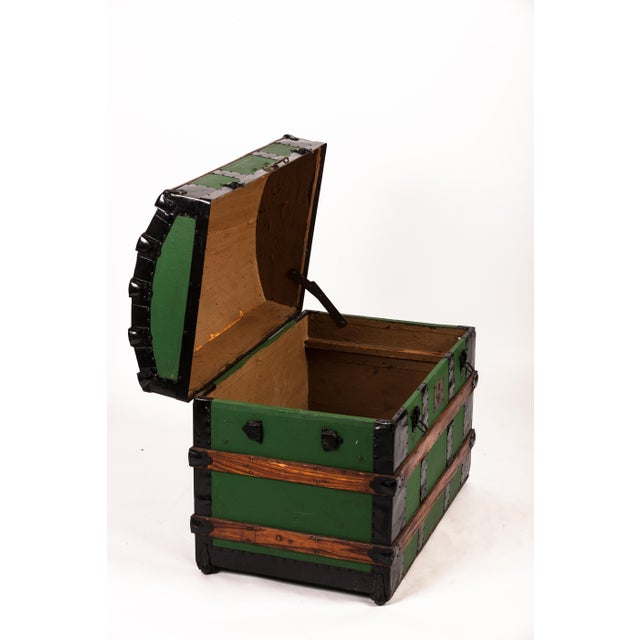 Wood Antique Green Dome Carriage Trunk For Sale - Image 7 of 13