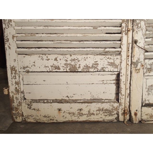 White Pair of Large Antique French Door Shutters From a Chateau, 19th Century For Sale - Image 8 of 13