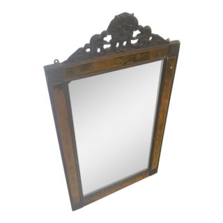 Vintage Art Deco Glass Trim & Mahogany Mirror