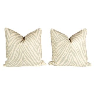 Seafoam Green Linen Zebra Pillows - Pair For Sale