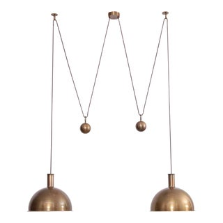 Rare Early Florian Schulz Double Posa Counterweight Pendant Lamp in Solid Brass For Sale