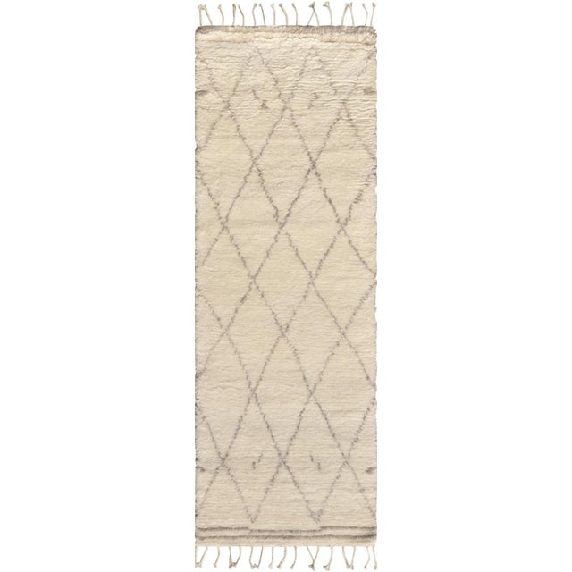 "Moroccan Silk & Wool Runner - 2' 7"" x 6' - Image 1 of 3"