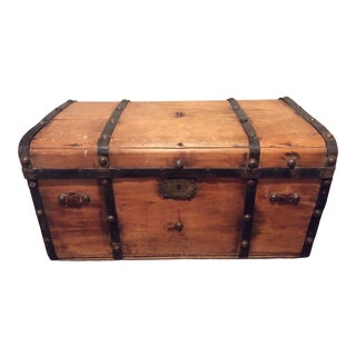 19th Century Antique Wood Carriage Trunk For Sale