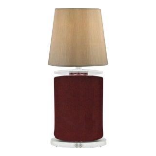 Vintage Mid Century Modern Red Ceramic Sculptural Clear Lucite Table Desk Lamp For Sale