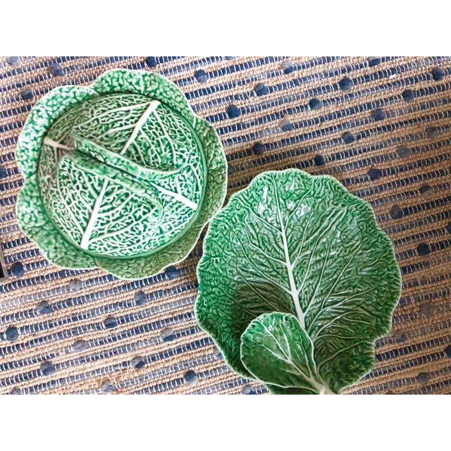 Majolica Vintage Majolica Cabbage Leaf Serving Platter For Sale - Image 4 of 5