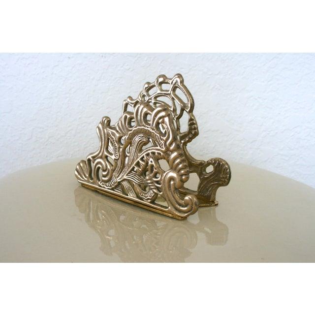 Brass Vintage Brass Teleflora Letter / Napkin Holder For Sale - Image 7 of 9