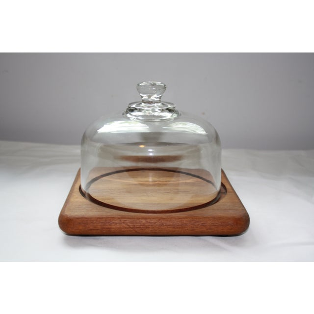 Mid Century Teak Cheese Tray with Glass Top - Image 2 of 5