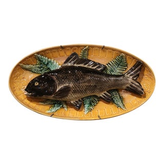 Early 20th Century French Hand Painted Ceramic Barbotine Fish Wall Platter For Sale