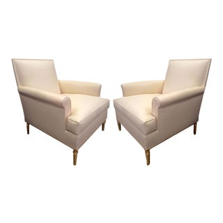 Maison Carlhian Pair of Chairs With Gold Leaf Twisted Legs Newly Covered in Silk For Sale