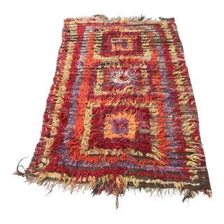 1950s Turkish Handmade Red Wool Angora Rug For Sale