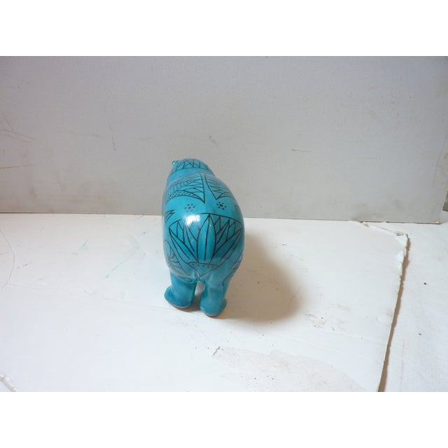 Vintage Faience Hippo Figurine For Sale - Image 4 of 6