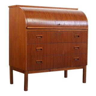 Mid Century Danish Modern Roll Top Secretary Teak Desk Attributed to Egon Ostergaard For Sale