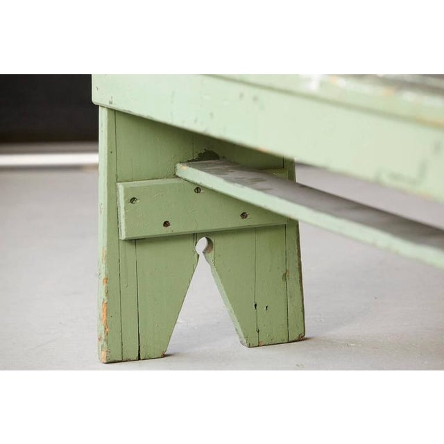 Primitive Green Pine Bench with Lots of Color Splashes from an Artist's Atelier For Sale - Image 9 of 10