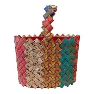 Outsider Art Old Tobacco Packaging Basket