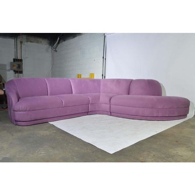 Purple Milo Baughman Serpentine Sectional Microsuede Sofa, Circa 1980 For Sale - Image 8 of 12