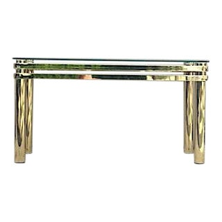 1970's Vintage Hollywood Regency Pace Brass and Glass Sofa Table For Sale