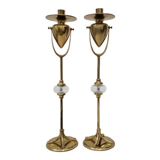 Pair of Vintage Plate Brass & Bulbous Glass Candlesticks by Chapman C.1989 For Sale