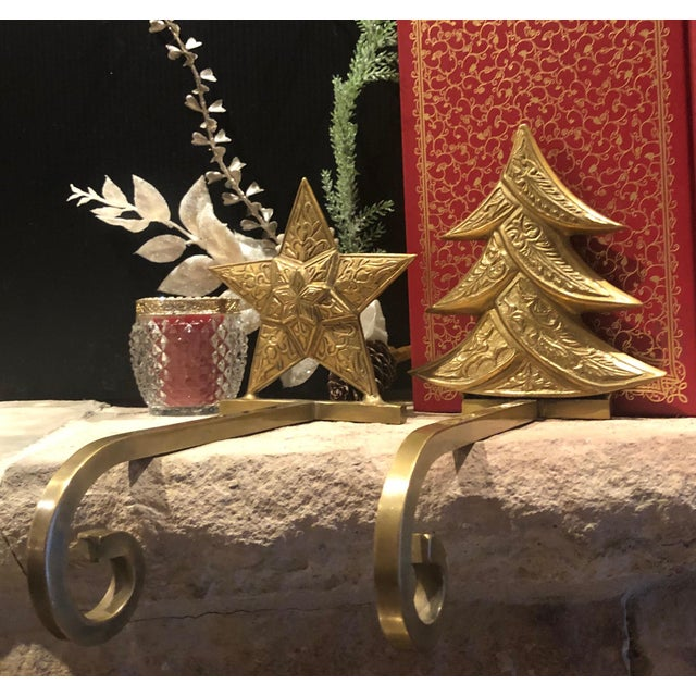 Traditional Vintage Antiqued Brass Stocking Hangers Tree & Star - a Pair For Sale - Image 3 of 9