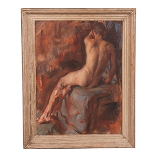 1960s English Oil on Canvas Male Nude Portrait Painting by Victor Hume Moody