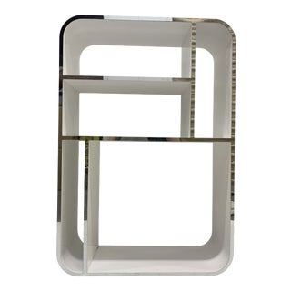Modern White + Chrome Display Shelf For Sale