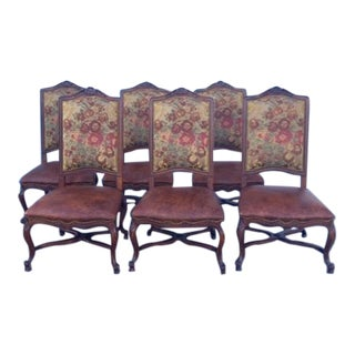 1980s Vintage English Tudor Dining Chairs- Set of 6 For Sale