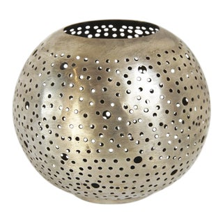 Nickel Metal Ball Candle Holder For Sale