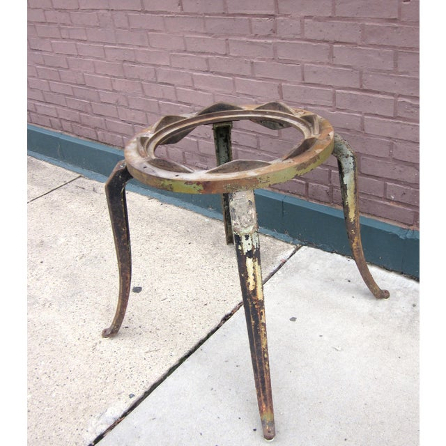 19th Century Industrial Machinery Converted Cast Iron Table Base With Glass Top For Sale - Image 4 of 9