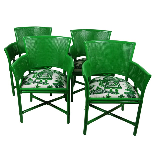 Ficks Reed Green Rattan Armchairs - Set of 4 For Sale
