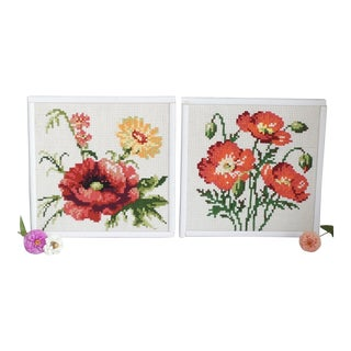 Floral Needlepoint Artworks - A Pair